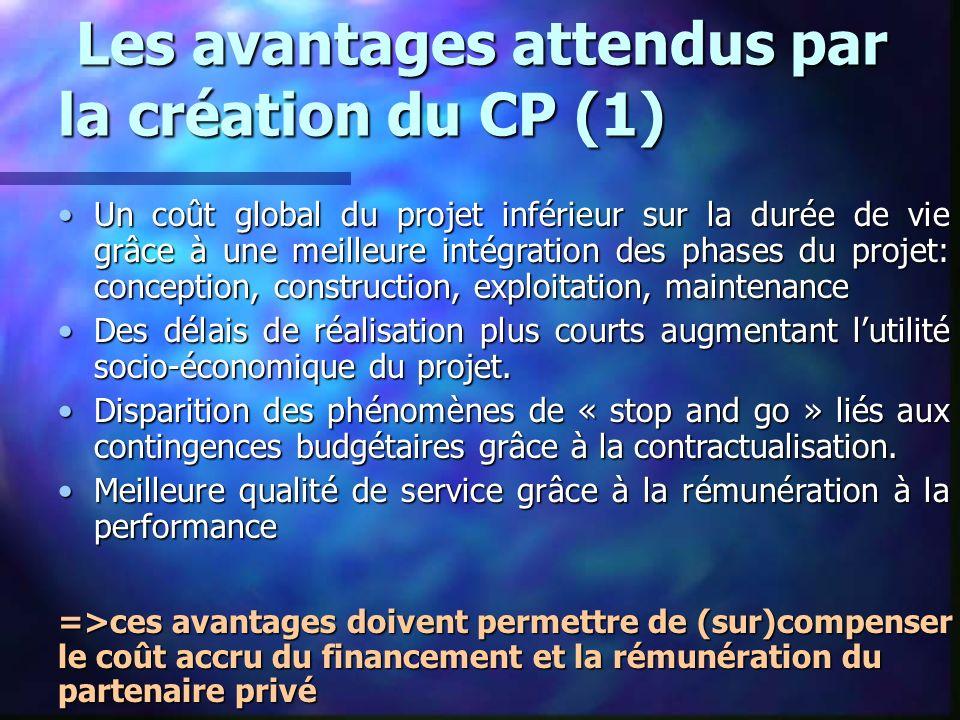 Les avantages attendus par la création du CP (1) Les avantages attendus par la création du CP (1) Un coût global du projet inférieur sur la durée de v