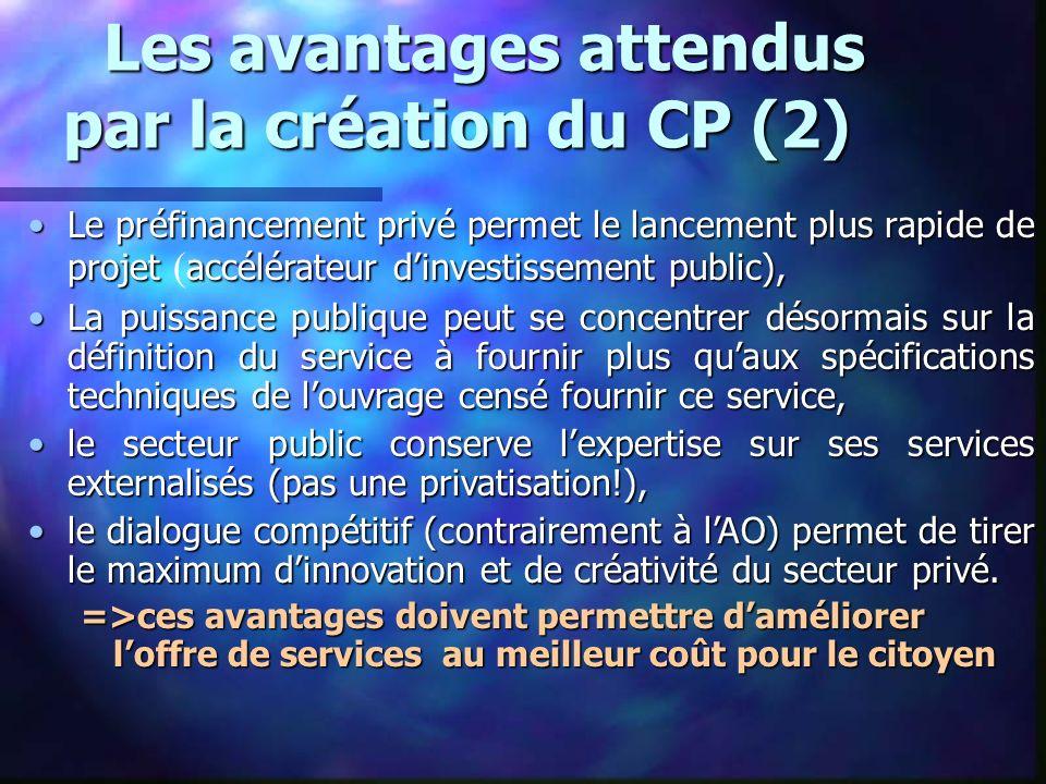 Les avantages attendus par la création du CP (2) Les avantages attendus par la création du CP (2) Le préfinancement privé permet le lancement plus rap