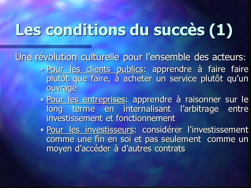 Les conditions du succès (1) Une révolution culturelle pour lensemble des acteurs : Pour les clients publics: apprendre à faire faire plutôt que faire