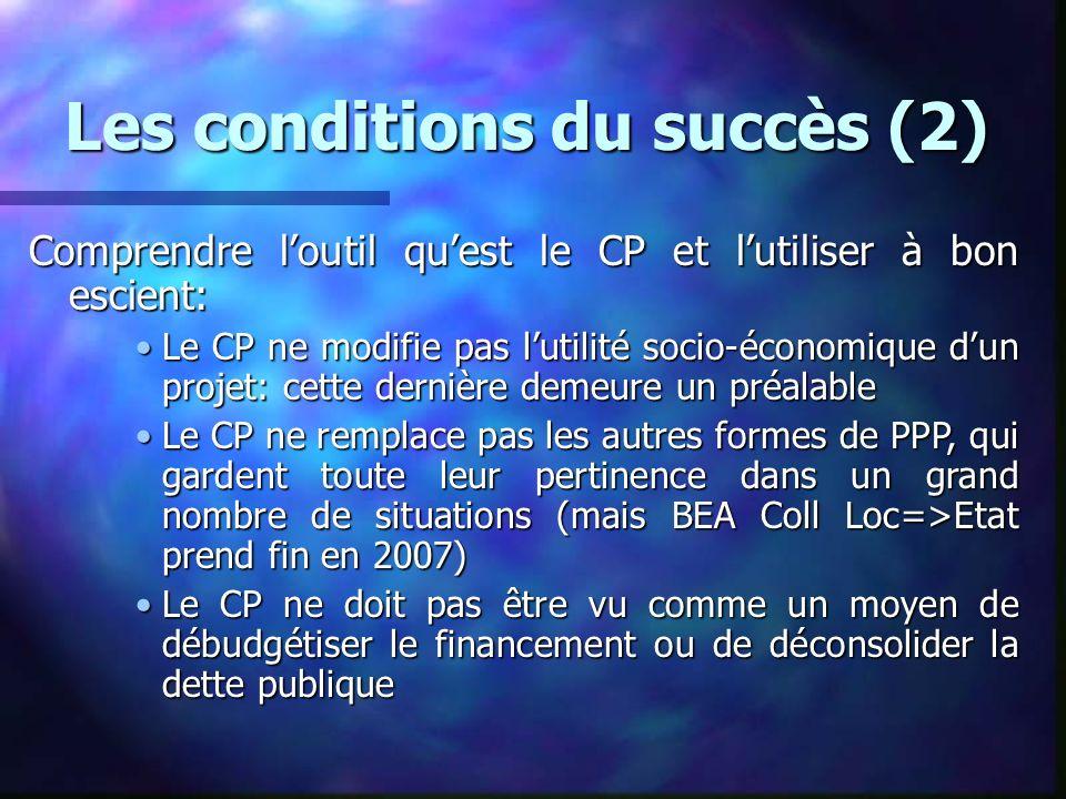 Les conditions du succès (2) Comprendre loutil quest le CP et lutiliser à bon escient: Le CP ne modifie pas lutilité socio-économique dun projet: cett