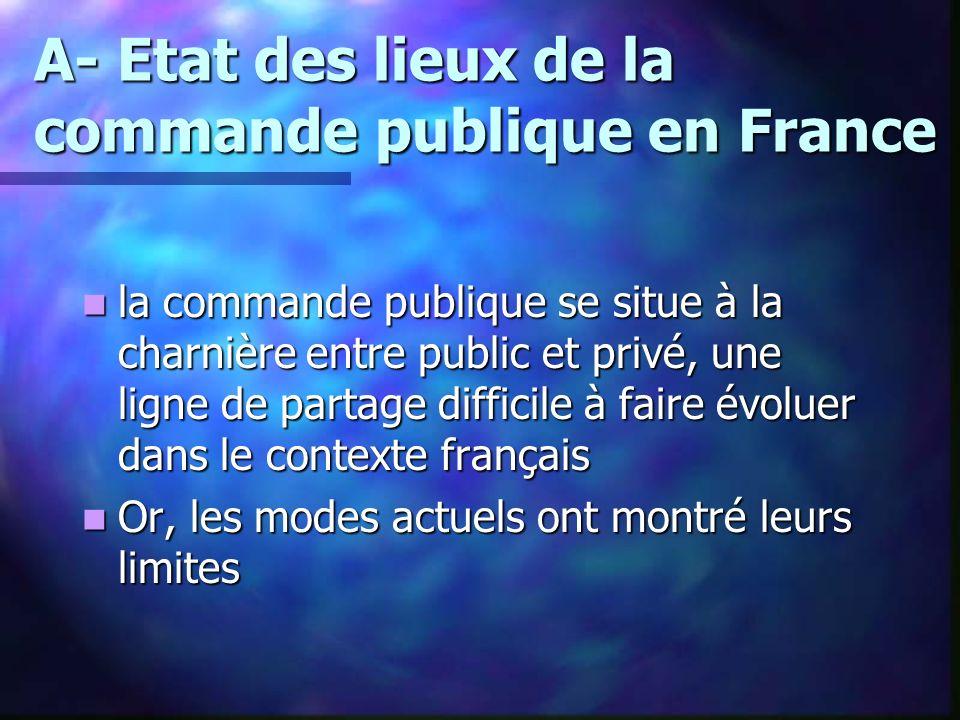 A- Etat des lieux de la commande publique en France la commande publique se situe à la charnière entre public et privé, une ligne de partage difficile