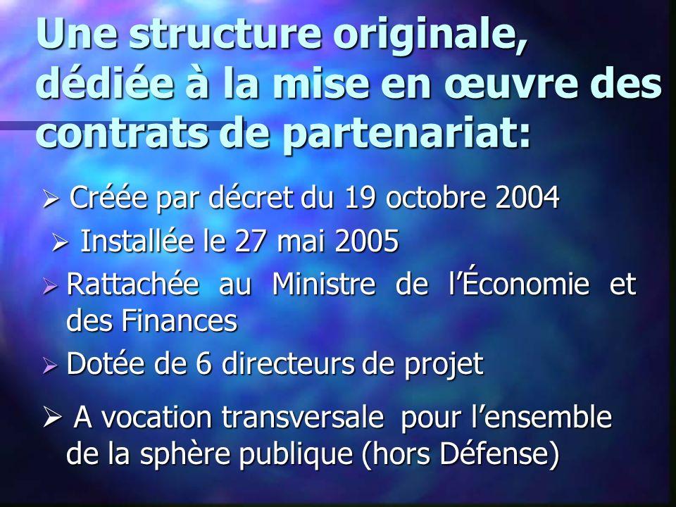 Une structure originale, dédiée à la mise en œuvre des contrats de partenariat: Créée par décret du 19 octobre 2004 Créée par décret du 19 octobre 200