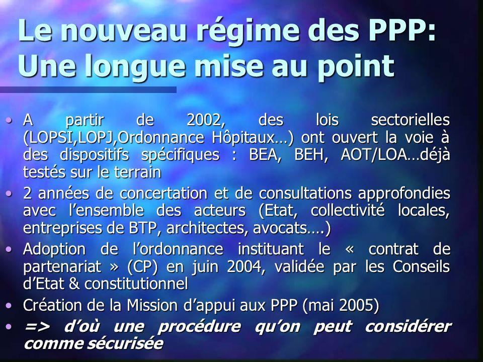 Le nouveau régime des PPP: Une longue mise au point A partir de 2002, des lois sectorielles (LOPSI,LOPJ,Ordonnance Hôpitaux…) ont ouvert la voie à des