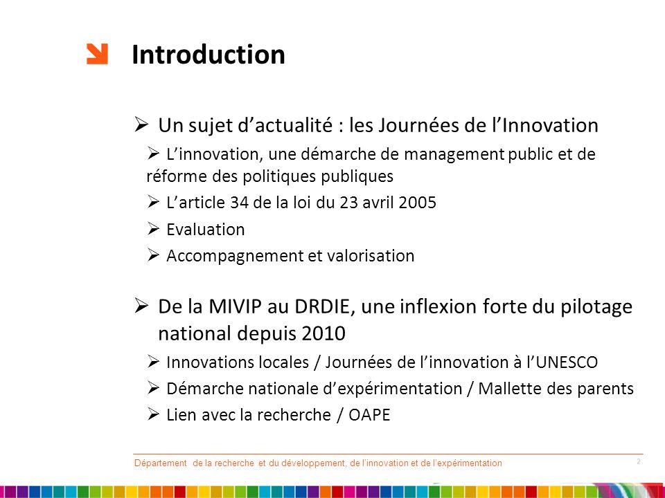 Introduction Un sujet dactualité : les Journées de lInnovation Linnovation, une démarche de management public et de réforme des politiques publiques L