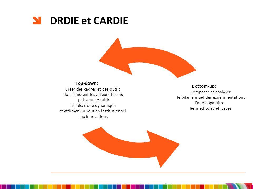 DRDIE et CARDIE Top-down: Créer des cadres et des outils dont puissent les acteurs locaux puissent se saisir Impulser une dynamique et affirmer un sou