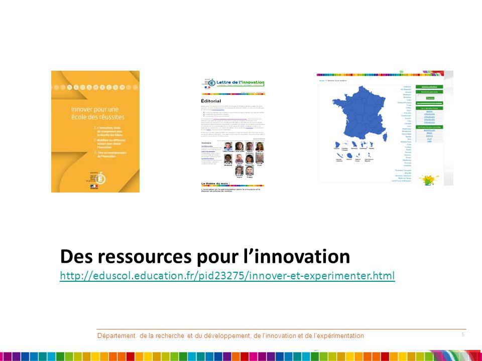 Département de la recherche et du développement, de linnovation et de lexpérimentation 5 Des ressources pour linnovation http://eduscol.education.fr/p
