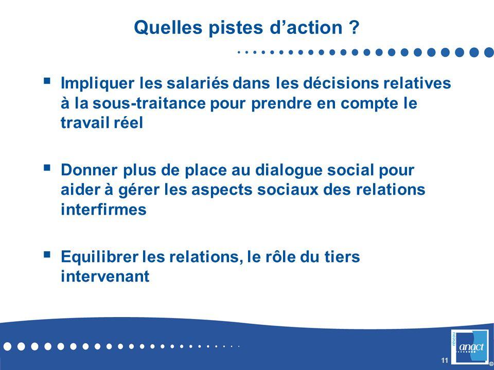 11 © Quelles pistes daction ? Impliquer les salariés dans les décisions relatives à la sous-traitance pour prendre en compte le travail réel Donner pl