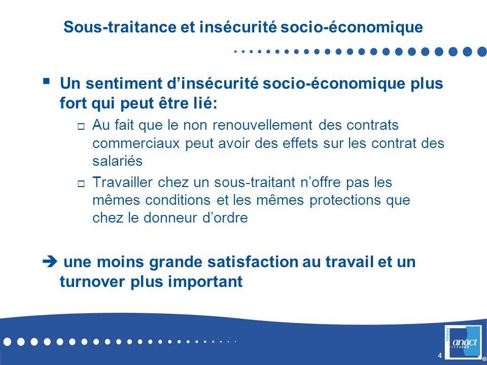 4 © Sous-traitance et insécurité socio-économique Un sentiment dinsécurité socio-économique plus fort qui peut être lié: Au fait que le non renouvelle