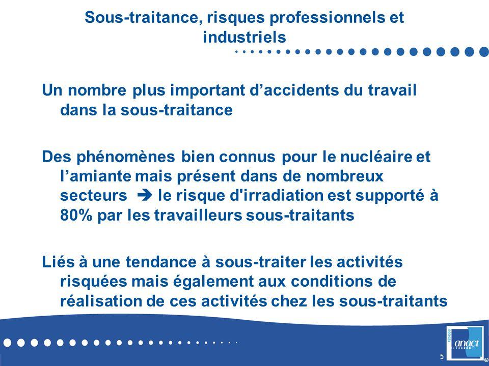 5 © Sous-traitance, risques professionnels et industriels Un nombre plus important daccidents du travail dans la sous-traitance Des phénomènes bien co