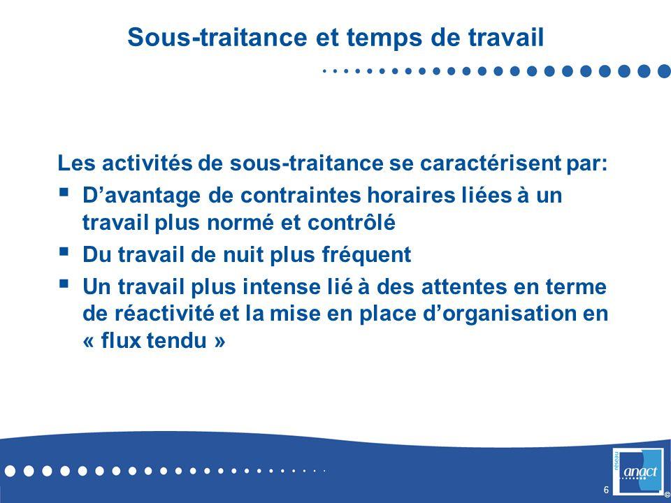 6 © Sous-traitance et temps de travail Les activités de sous-traitance se caractérisent par: Davantage de contraintes horaires liées à un travail plus