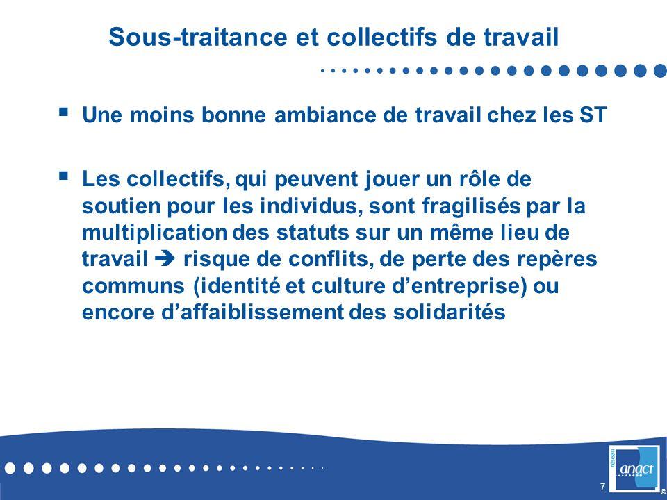 7 © Sous-traitance et collectifs de travail Une moins bonne ambiance de travail chez les ST Les collectifs, qui peuvent jouer un rôle de soutien pour