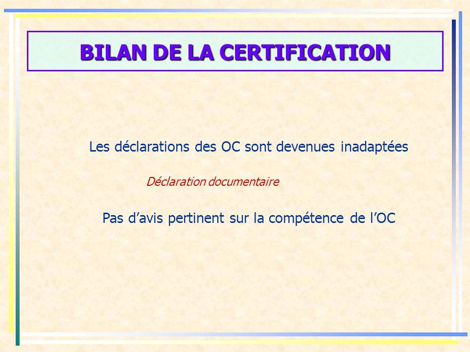 BILAN DE LA CERTIFICATION Le champ de la certification est large Le dispositif est utilisé pour certifier : - Des produits ou services destinés aux consommateurs, - Des produits ou services destinés aux entreprises - Des services non marchands (services administratifs, administrations, établissements publics)