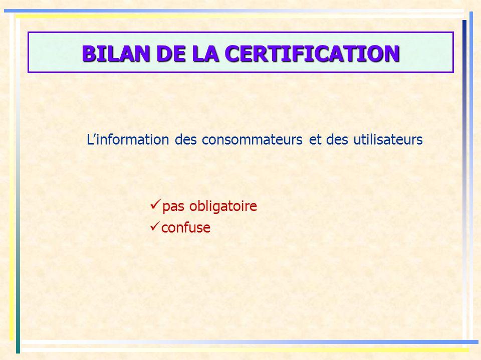 BILAN DE LA CERTIFICATION La marque collective de certification La marque collective de certification définie dans le CC nest plus en adéquation avec