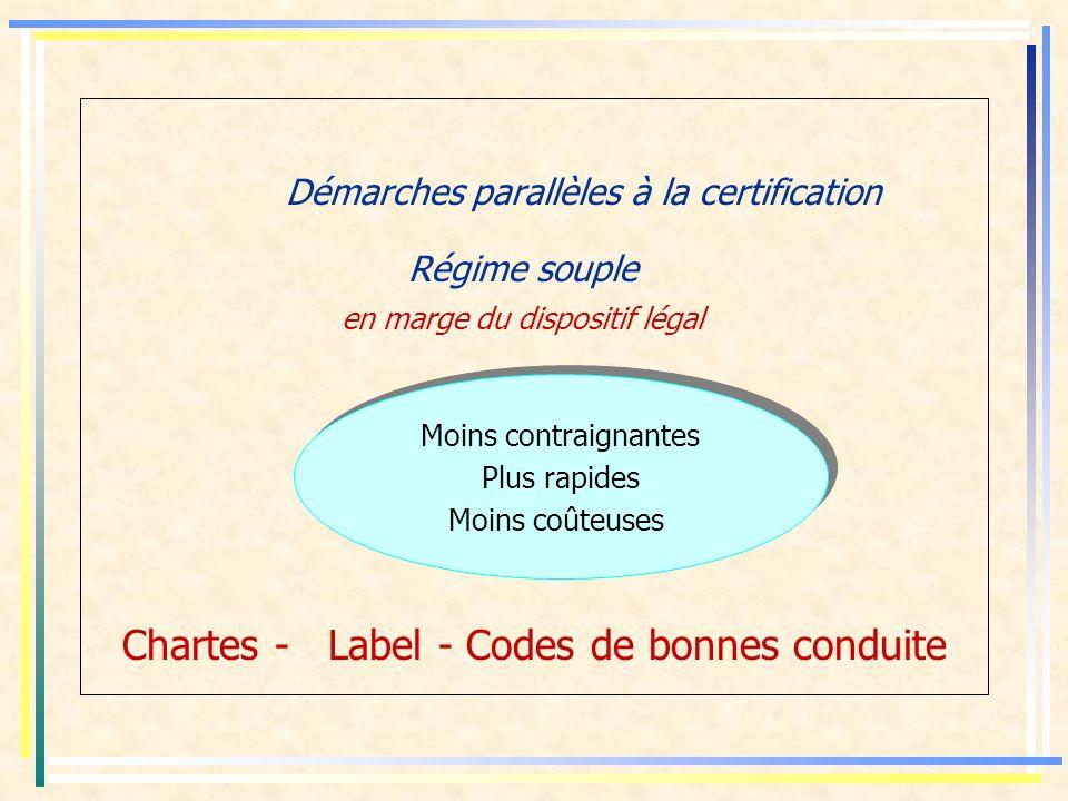 Démarches parallèles à la certification Régime souple en marge du dispositif légal Chartes - Label - Codes de bonnes conduite Moins contraignantes Plus rapides Moins coûteuses Moins contraignantes Plus rapides Moins coûteuses