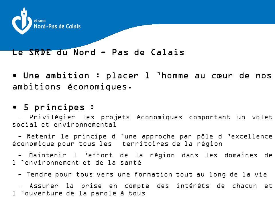 Le SRDE du Nord - Pas de Calais Une ambition : placer l homme au cœur de nos ambitions économiques. 5 principes : - Privilégier les projets économique