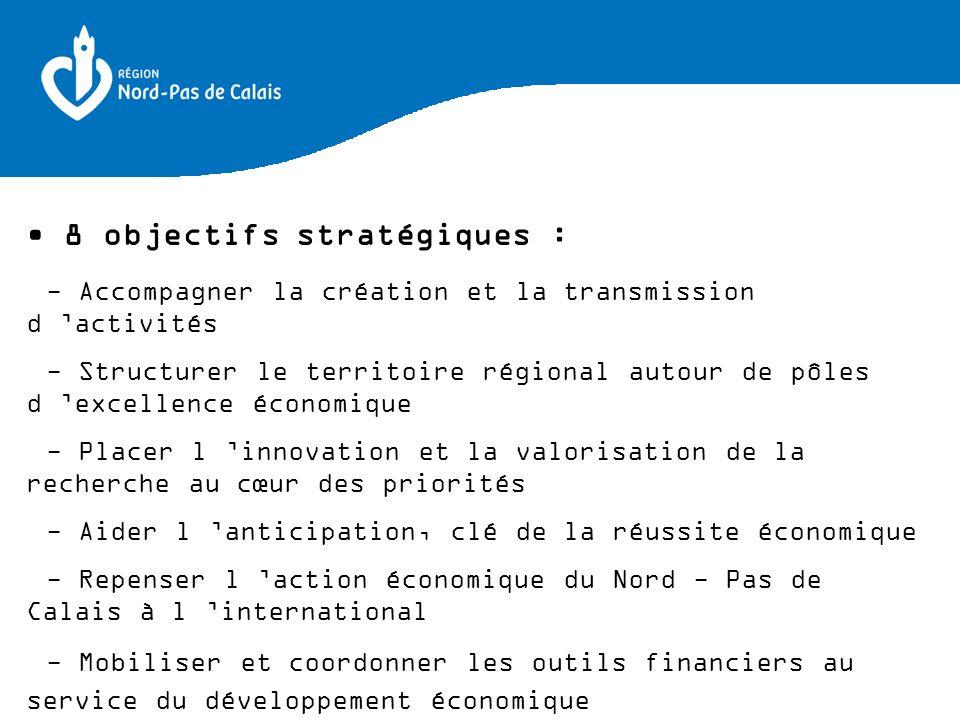 8 objectifs stratégiques : - Accompagner la création et la transmission d activités - Structurer le territoire régional autour de pôles d excellence é