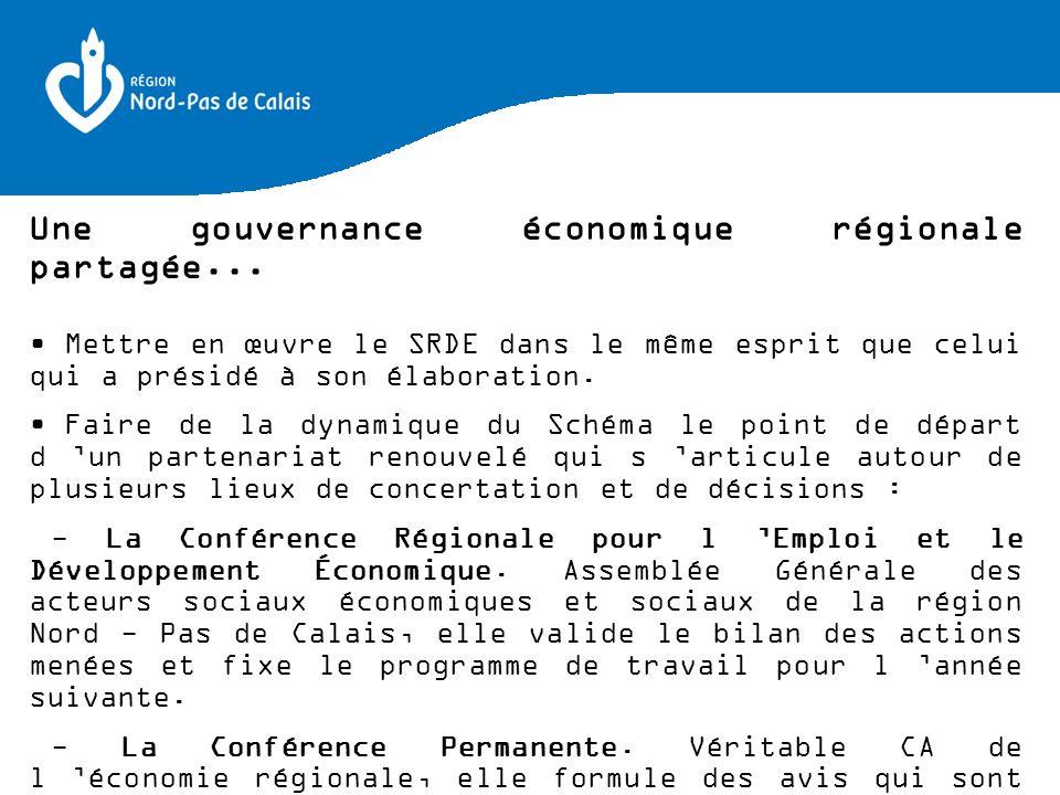 Une gouvernance économique régionale partagée... Mettre en œuvre le SRDE dans le même esprit que celui qui a présidé à son élaboration. Faire de la dy