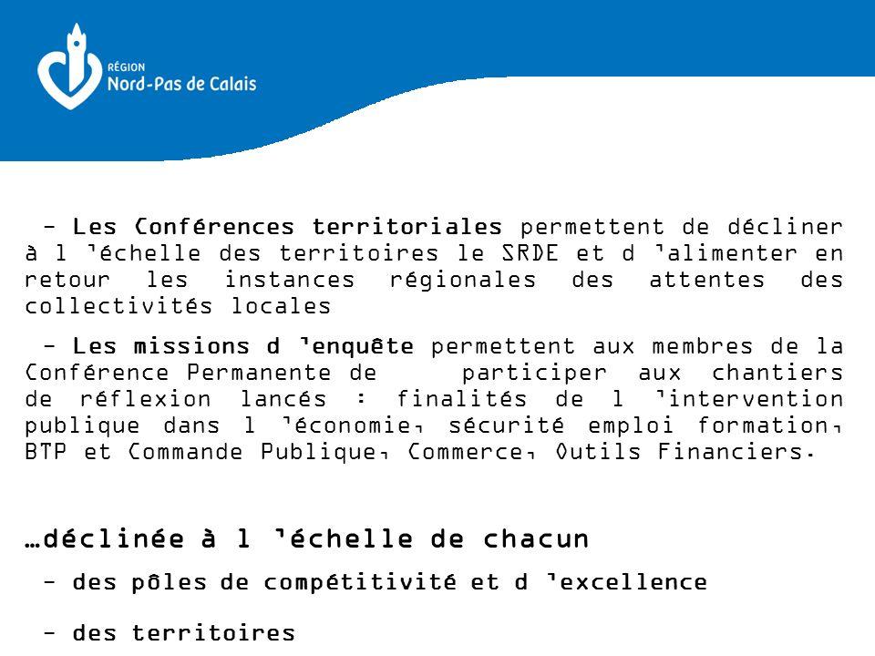 - Les Conférences territoriales permettent de décliner à l échelle des territoires le SRDE et d alimenter en retour les instances régionales des atten