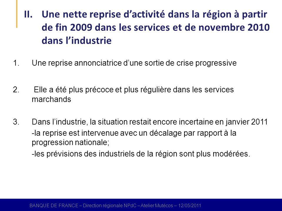 BANQUE DE FRANCE – Direction régional NPdC – Atelier Mutécos – 12/05/2011 1.Une reprise annonciatrice dune sortie de crise progressive 2.