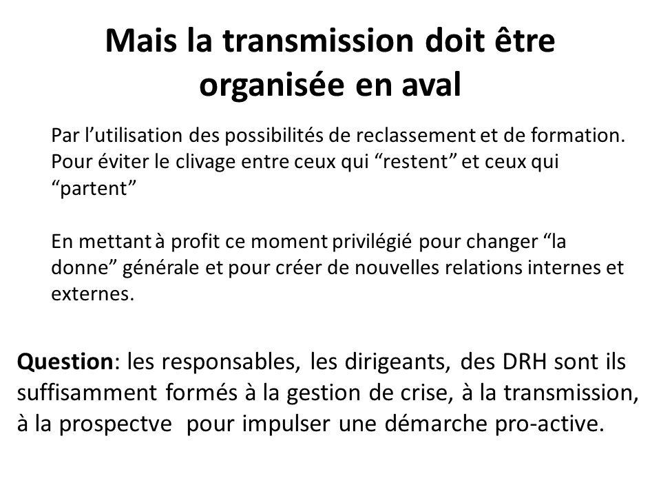 Mais la transmission doit être organisée en aval Par lutilisation des possibilités de reclassement et de formation.