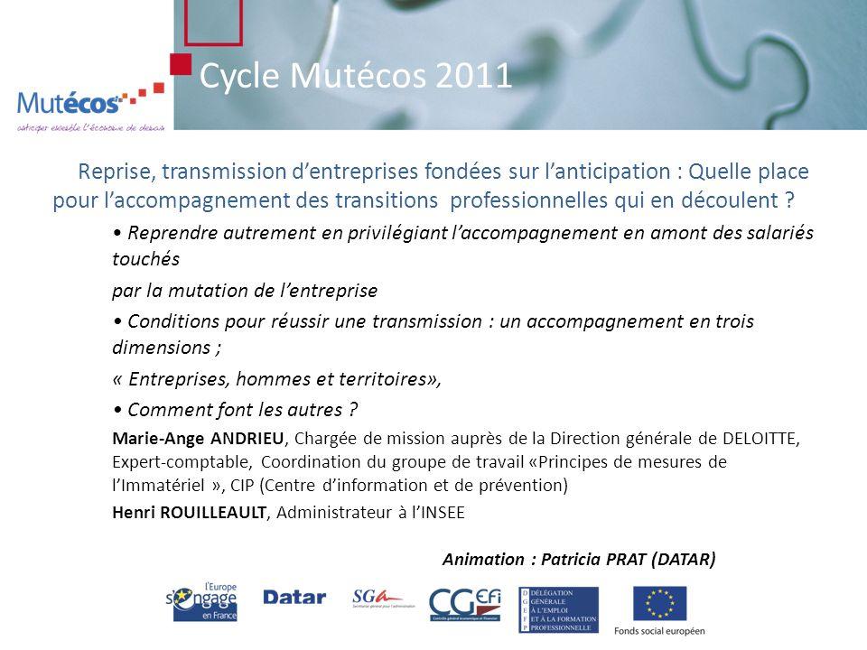 Cycle Mutécos 2011 Conjuguer PME, reprise et développement durable pour le territoire Comment optimiser le processus repreneurial .