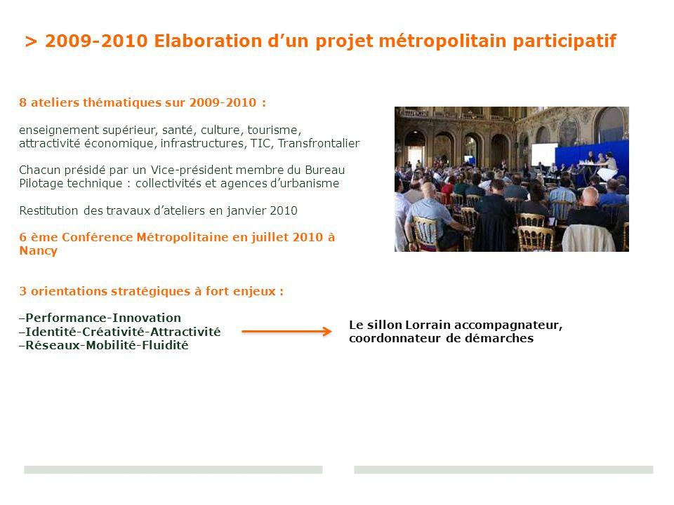 8 ateliers thématiques sur 2009-2010 : enseignement supérieur, santé, culture, tourisme, attractivité économique, infrastructures, TIC, Transfrontalie