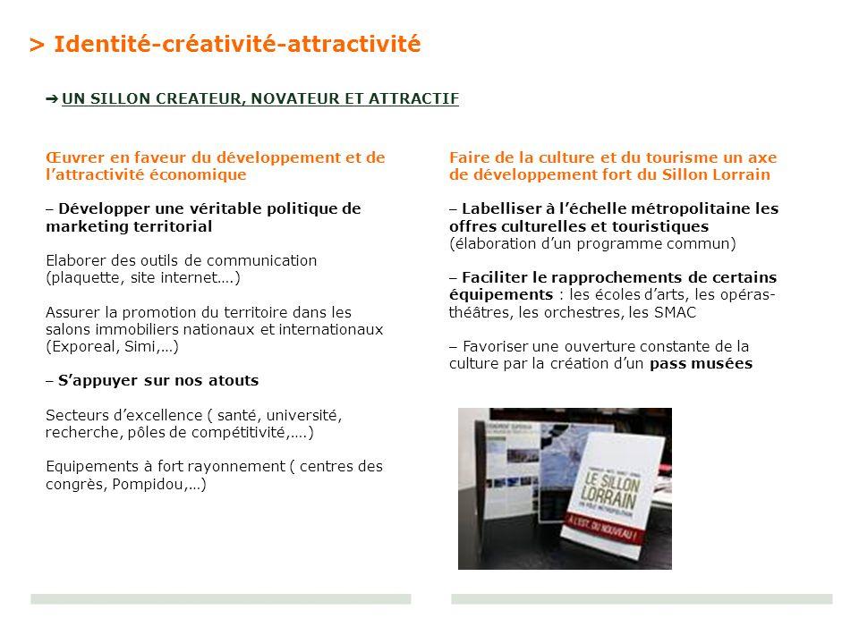 > Identité-créativité-attractivité UN SILLON CREATEUR, NOVATEUR ET ATTRACTIF Œuvrer en faveur du développement et de lattractivité économique – Dévelo