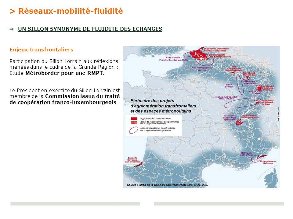 > Réseaux-mobilité-fluidité UN SILLON SYNONYME DE FLUIDITE DES ECHANGES Enjeux transfrontaliers Participation du Sillon Lorrain aux réflexions menées