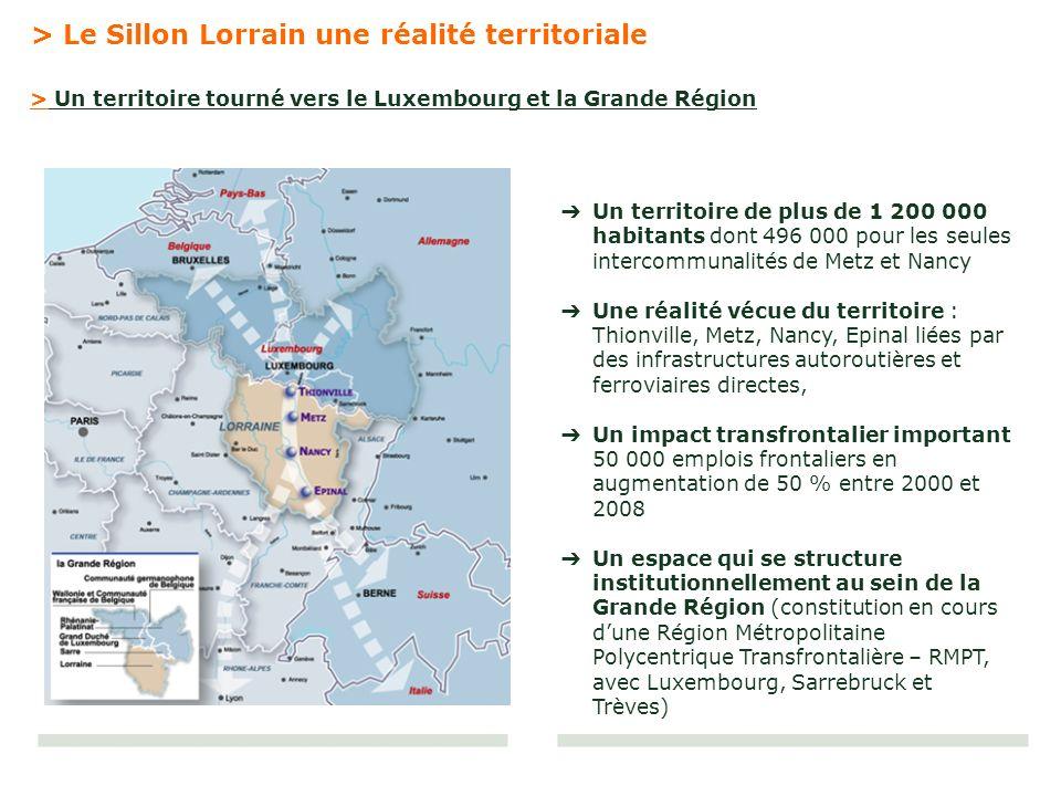 Un territoire de plus de 1 200 000 habitants dont 496 000 pour les seules intercommunalités de Metz et Nancy Une réalité vécue du territoire : Thionvi