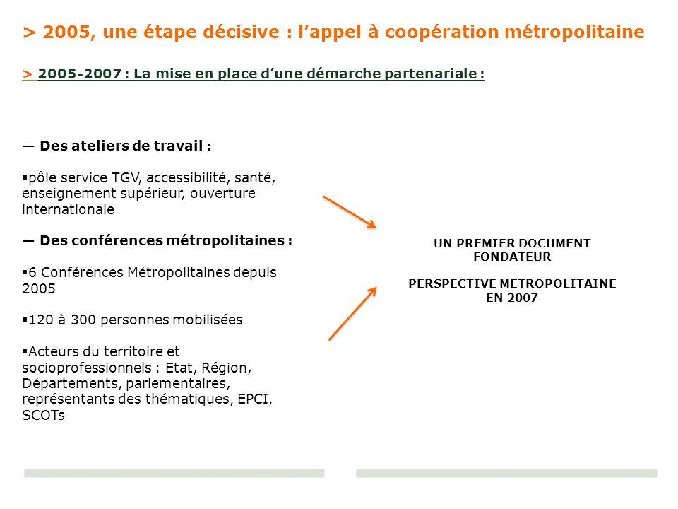 > 2005, une étape décisive : lappel à coopération métropolitaine Des ateliers de travail : pôle service TGV, accessibilité, santé, enseignement supéri