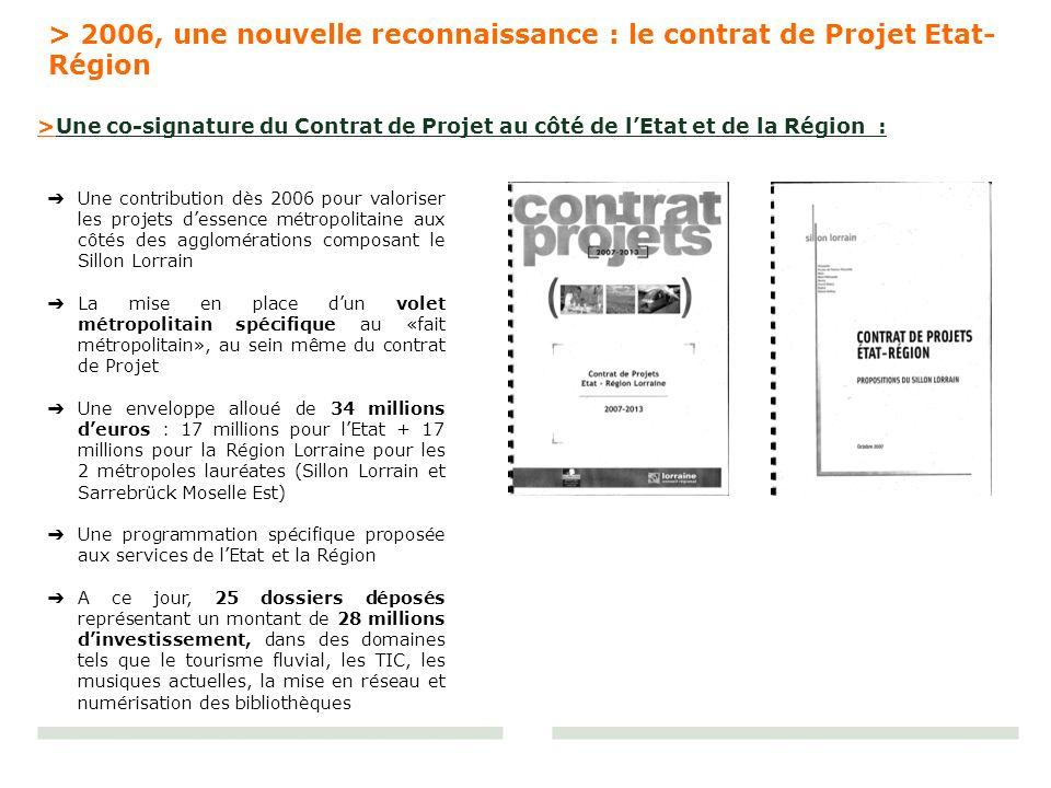 Une contribution dès 2006 pour valoriser les projets dessence métropolitaine aux côtés des agglomérations composant le Sillon Lorrain La mise en place