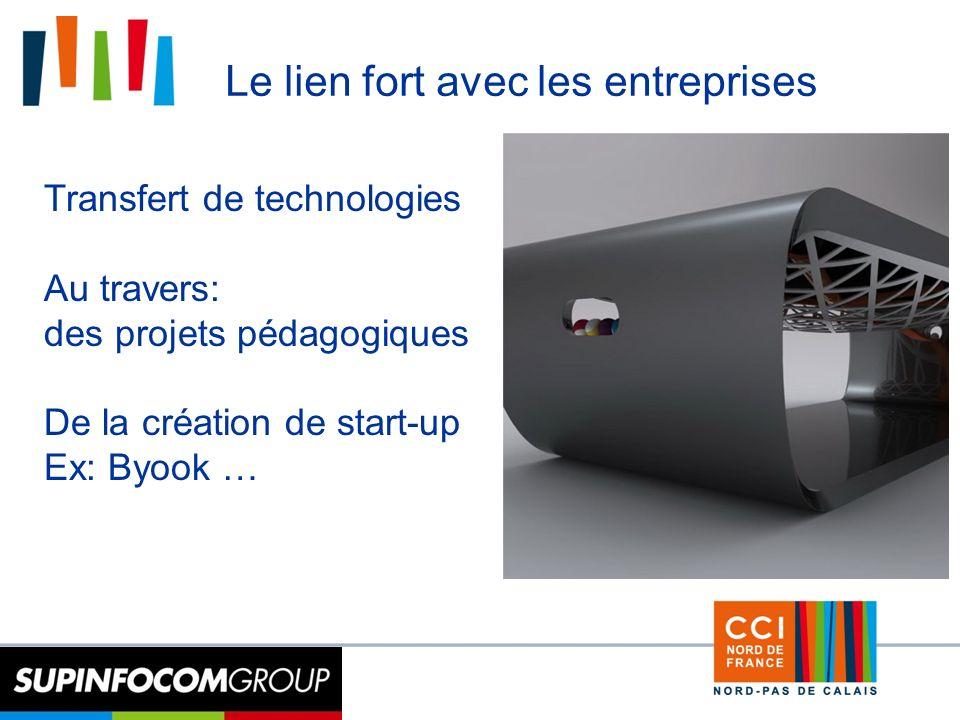 15 Le lien fort avec les entreprises Transfert de technologies Au travers: des projets pédagogiques De la création de start-up Ex: Byook …
