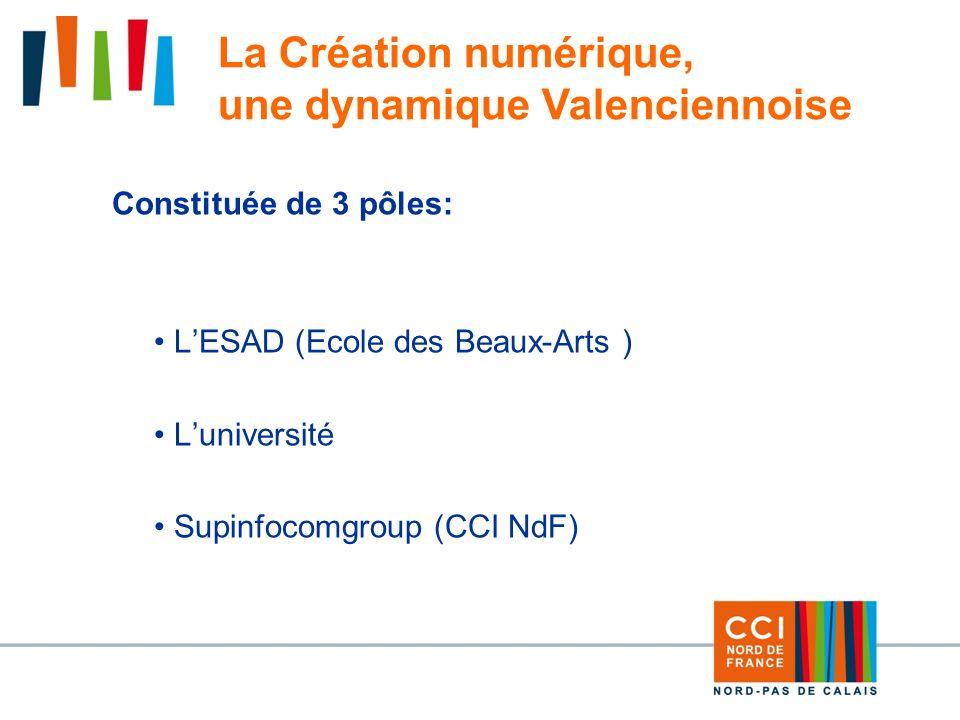 Constituée de 3 pôles: LESAD (Ecole des Beaux-Arts ) Luniversité Supinfocomgroup (CCI NdF) La Création numérique, une dynamique Valenciennoise