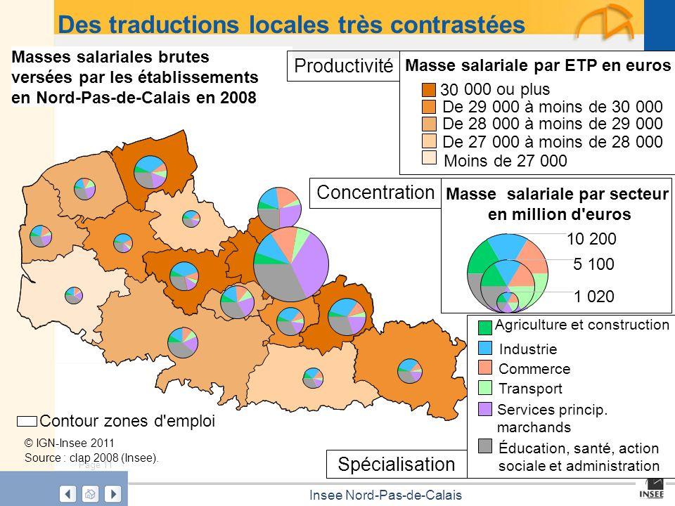 Page 11 Insee Nord-Pas-de-Calais Masses salariales brutes versées par les établissements en Nord-Pas-de-Calais en 2008 Masse salariale par ETP en euro