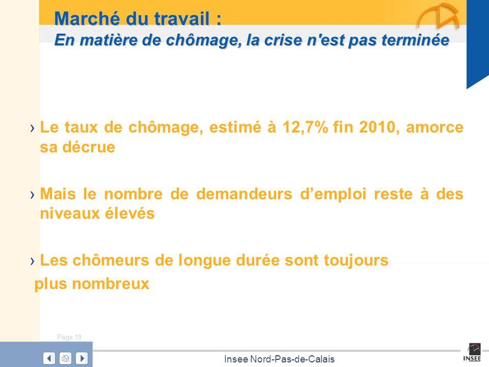 Page 19 Insee Nord-Pas-de-Calais Marché du travail : En matière de chômage, la crise n'est pas terminée Le taux de chômage, estimé à 12,7% fin 2010, a