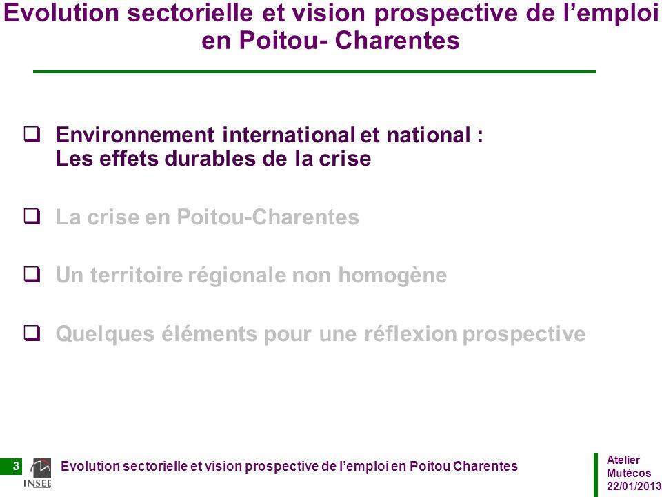 Atelier Mutécos 22/01/2013 Evolution sectorielle et vision prospective de lemploi en Poitou Charentes 3 Evolution sectorielle et vision prospective de