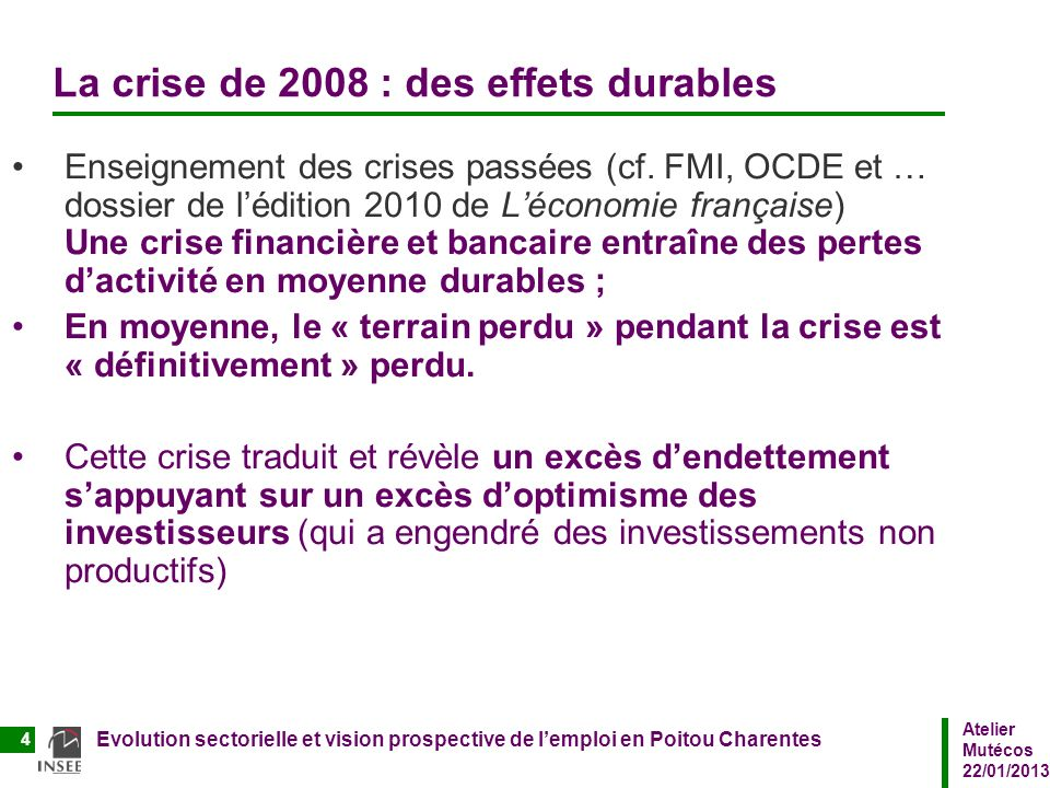 Atelier Mutécos 22/01/2013 Evolution sectorielle et vision prospective de lemploi en Poitou Charentes 4 La crise de 2008 : des effets durables Enseign