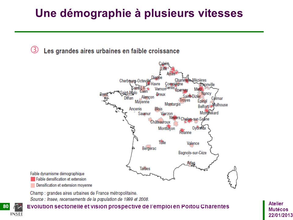 Atelier Mutécos 22/01/2013 Evolution sectorielle et vision prospective de lemploi en Poitou Charentes 80 Une démographie à plusieurs vitesses