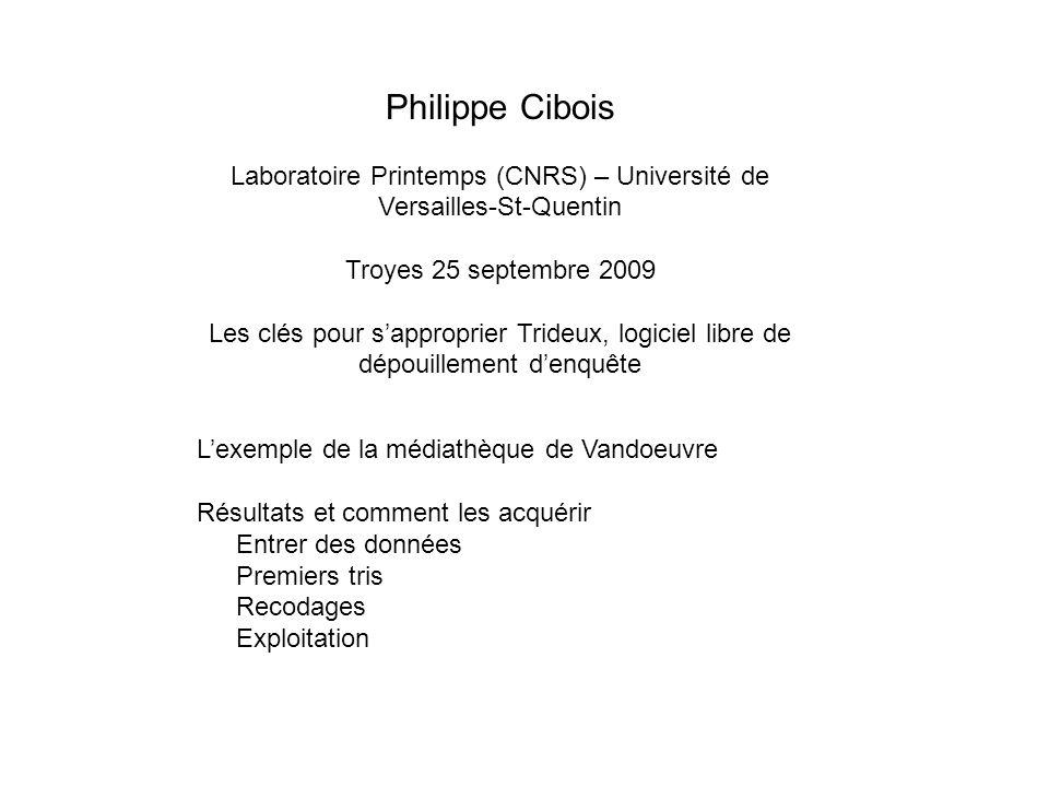Philippe Cibois Laboratoire Printemps (CNRS) – Université de Versailles-St-Quentin Troyes 25 septembre 2009 Les clés pour sapproprier Trideux, logicie