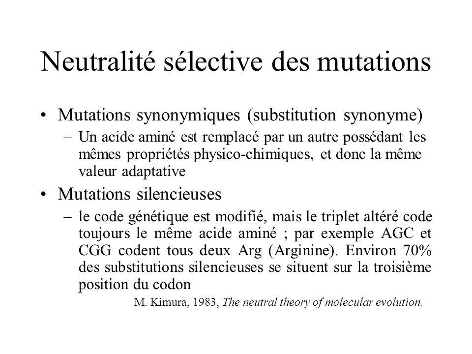Neutralité sélective des mutations Mutations synonymiques (substitution synonyme) –Un acide aminé est remplacé par un autre possédant les mêmes propriétés physico-chimiques, et donc la même valeur adaptative Mutations silencieuses –le code génétique est modifié, mais le triplet altéré code toujours le même acide aminé ; par exemple AGC et CGG codent tous deux Arg (Arginine).