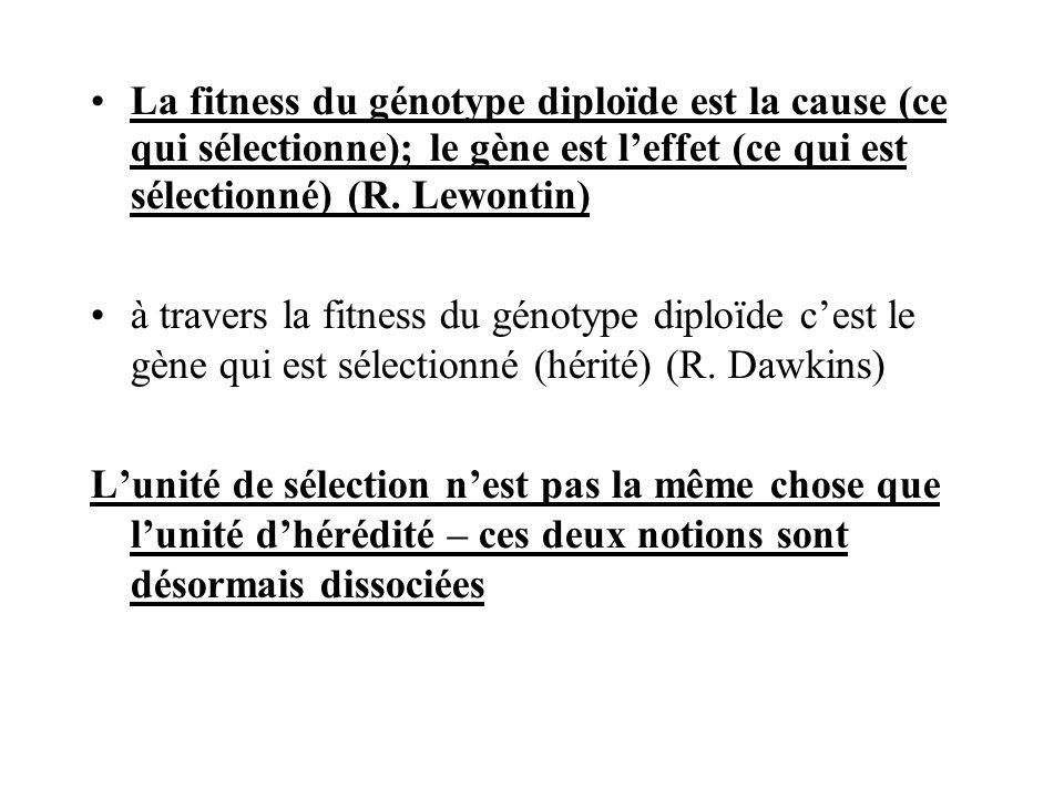 La fitness du génotype diploïde est la cause (ce qui sélectionne); le gène est leffet (ce qui est sélectionné) (R. Lewontin) à travers la fitness du g