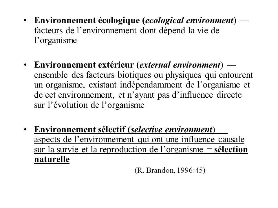 Environnement écologique (ecological environment) facteurs de lenvironnement dont dépend la vie de lorganisme Environnement extérieur (external enviro