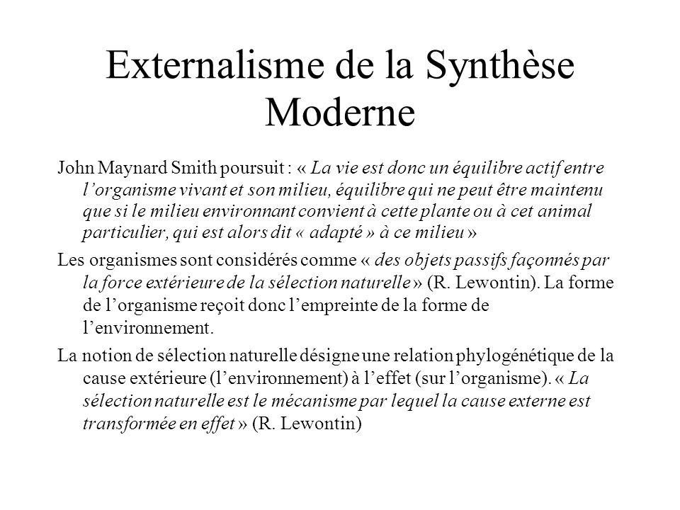 John Maynard Smith poursuit : « La vie est donc un équilibre actif entre lorganisme vivant et son milieu, équilibre qui ne peut être maintenu que si l