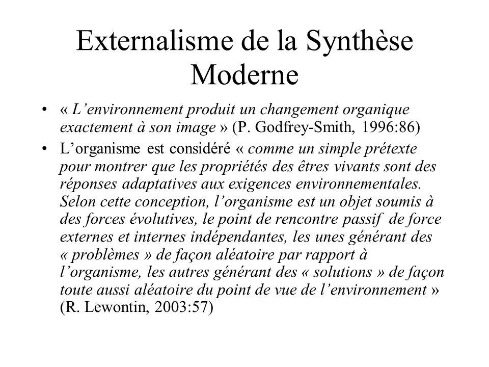 « Lenvironnement produit un changement organique exactement à son image » (P. Godfrey-Smith, 1996:86) Lorganisme est considéré « comme un simple préte