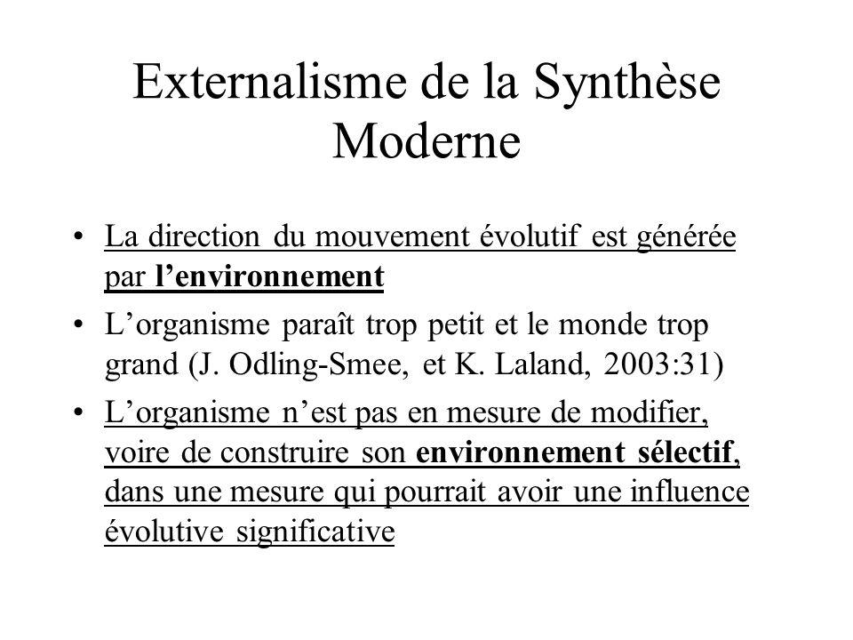 La direction du mouvement évolutif est générée par lenvironnement Lorganisme paraît trop petit et le monde trop grand (J. Odling-Smee, et K. Laland, 2