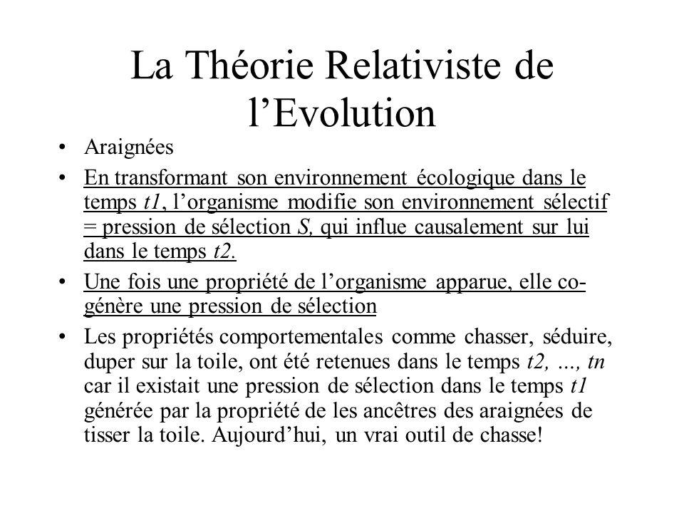 Araignées En transformant son environnement écologique dans le temps t1, lorganisme modifie son environnement sélectif = pression de sélection S, qui influe causalement sur lui dans le temps t2.