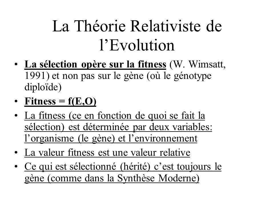 La sélection opère sur la fitness (W. Wimsatt, 1991) et non pas sur le gène (où le génotype diploïde) Fitness = f(E,O) La fitness (ce en fonction de q