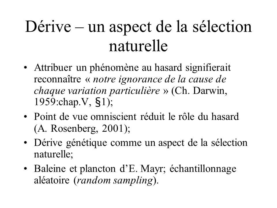 Dérive – un aspect de la sélection naturelle Attribuer un phénomène au hasard signifierait reconnaître « notre ignorance de la cause de chaque variation particulière » (Ch.