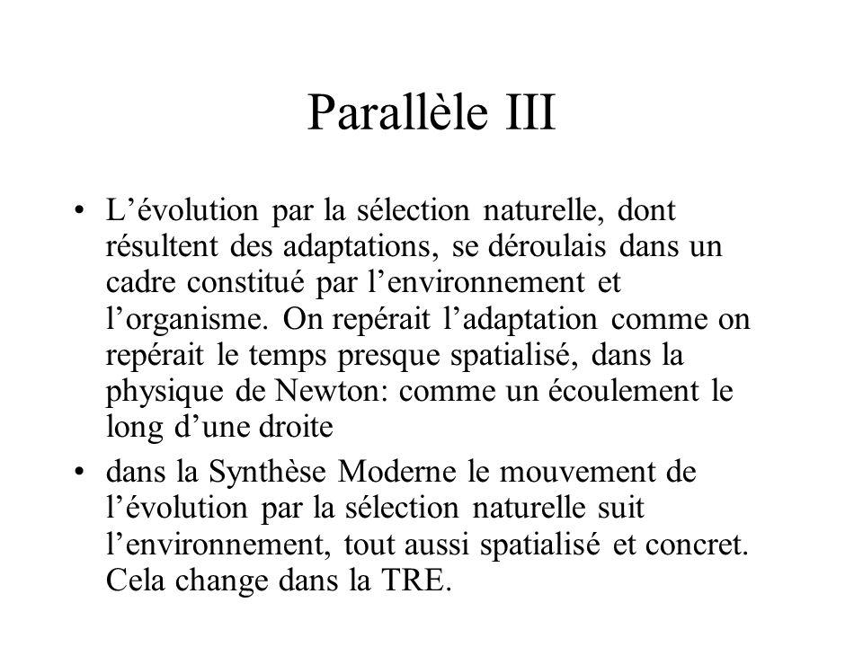 Parallèle III Lévolution par la sélection naturelle, dont résultent des adaptations, se déroulais dans un cadre constitué par lenvironnement et lorgan