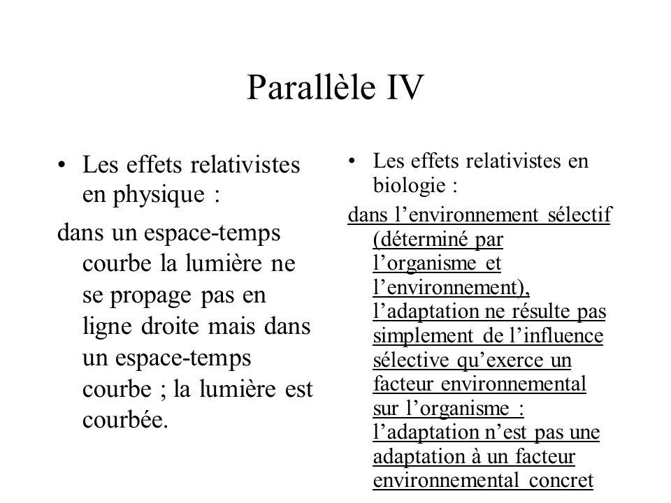 Parallèle IV Les effets relativistes en physique : dans un espace-temps courbe la lumière ne se propage pas en ligne droite mais dans un espace-temps courbe ; la lumière est courbée.